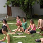 Participants at yoga workshop